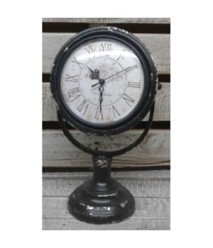 Distressed Black Clock 14 x 8 in.
