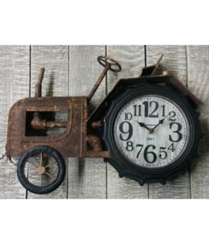Rustic Tractor Clock 10.5x16.5 in.