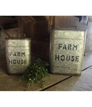 Galv FarmHouse Canister S/2 7 x 5 x 5, 9 x 7x 7 in.