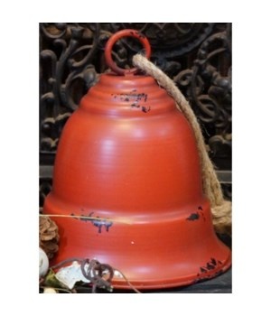 Red Distressed Metal Bell Lg