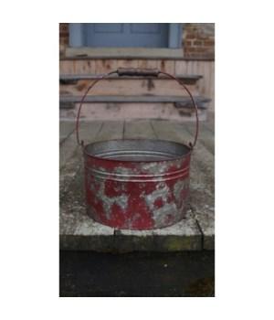 Red Distressed Metal Bucket