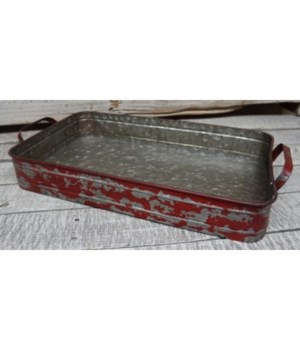 Red Distressed Metal Tray2.75 x 17.75 x 9 in.