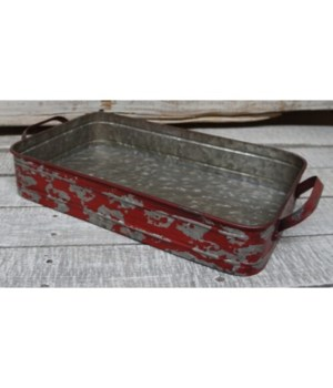 Red Distressed Metal Tray 2.75 x 15 x 7.75 in.
