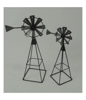 Metal Windmills S/2 13 x 10, in.