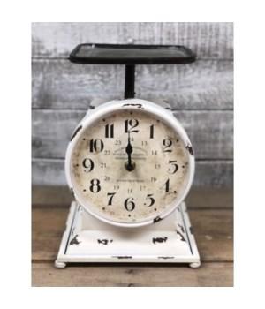 Cream Distressed Scale Clock
