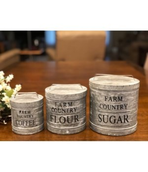 Farm Country Canisters (S/3) 5 x 4, 6 x 5, 7 x 6 in.