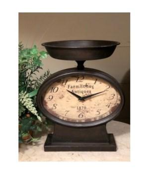 Distressed Black Scale Clock