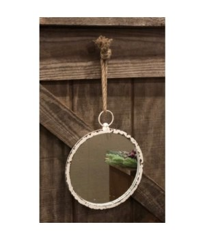 Cr Distressed Round Mirror 13 in.