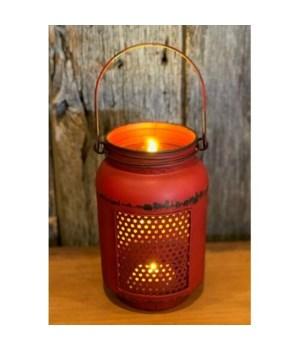 Red Dist LED Mason Jar Light-L