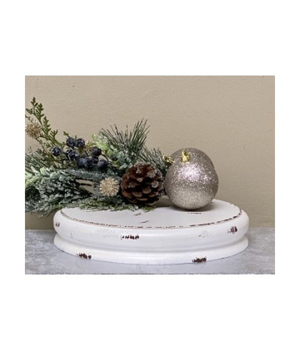White Dist Dbl Candle Plate Md