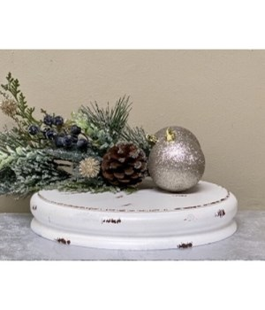 White Dist Dbl Candle Plate Sm