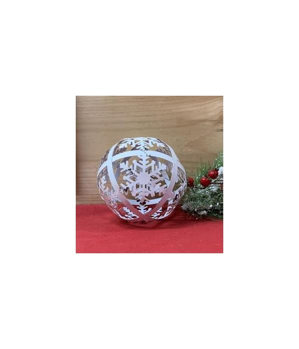 White Dist Snowflake Sphere Lg