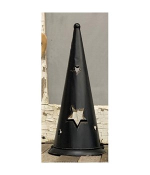 Blk Metal Wch Hat Candle H Lg
