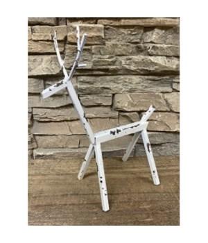 White Dist Metal Deer Large