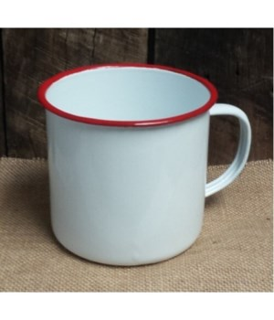 Rd Rim Enamel Coffee Mug 4 x 5.5 in.