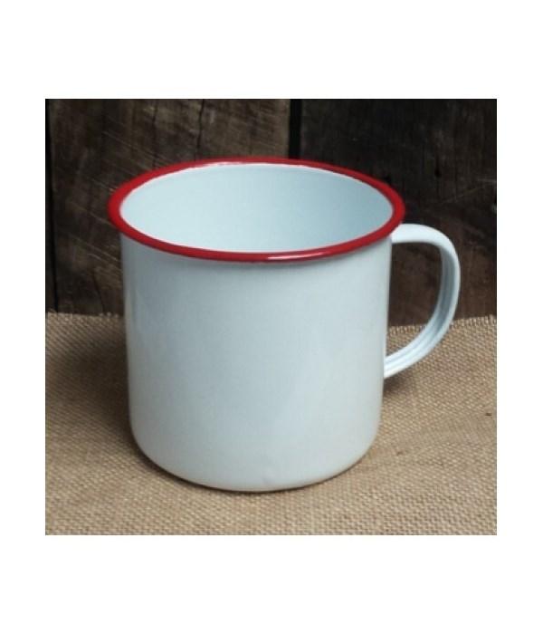 Rd Rim Enamel Coffee Mug 4 x 5.5 in.