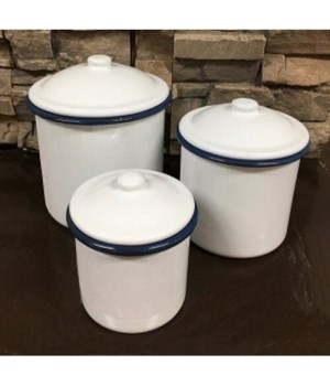 Blue Rim Canister Set