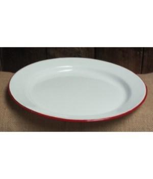 Red Rim Enamelware Plate 10in