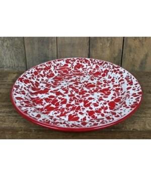Red Splatter Enamel Plate 10 in.