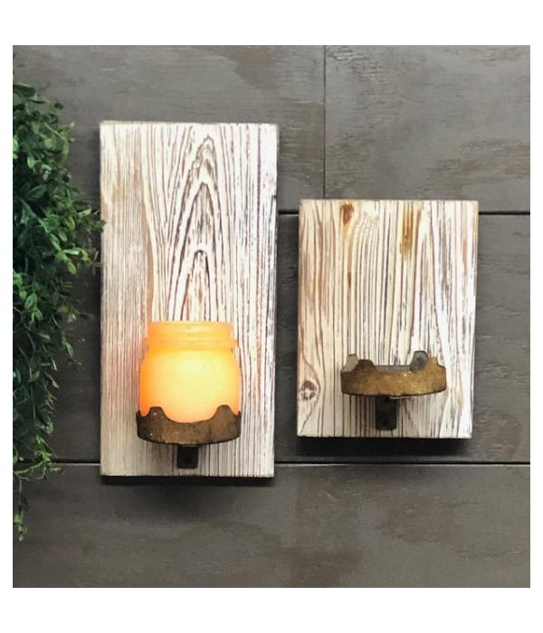 Distressed Wall Candle Holder LG 12 x 4.5 in.