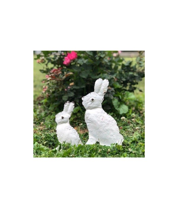 White Metal Bunny Silhouette Lg 10 x 6 x 1 in.