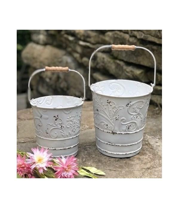 White Distr Ornate Buckets (S/2)