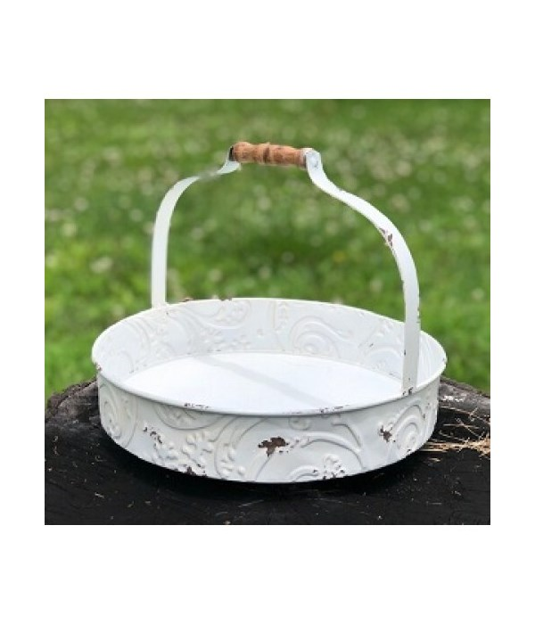 White Distressed Tray w/Handle