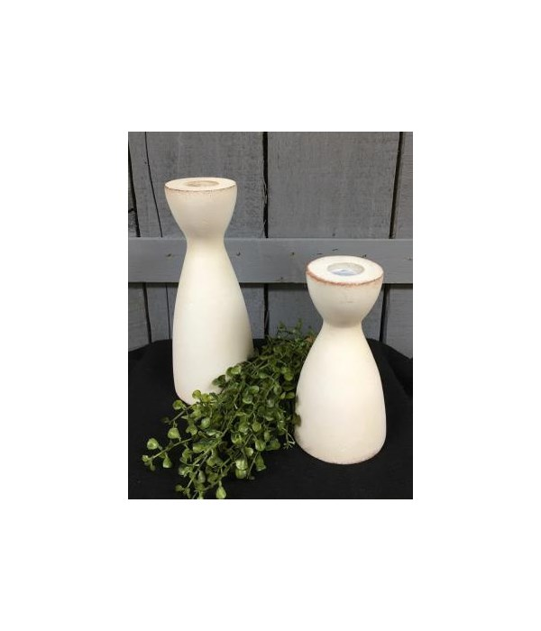 White Distressed Taper Candle Holders S/2 8 x 3, 6 x 3 in.