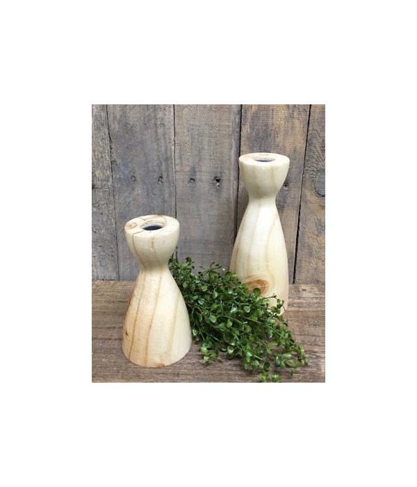 Natural Taper Candle Holders S/2 8 x 3, 6 x 3 in.