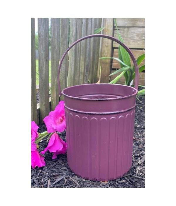 Pink Ribbed Metal Bucket 12. in.