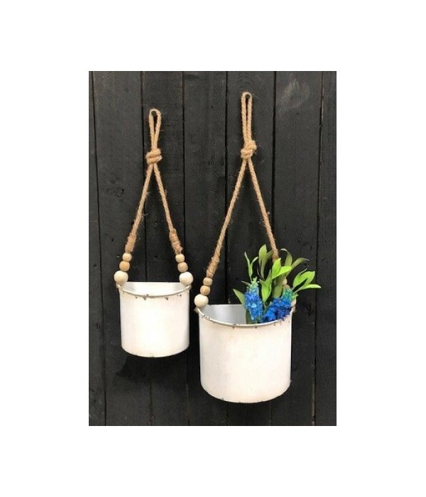 White Distressed Hanging Palnter w/beads (S/2) 28 x 8 x 4.25, 23 x 6 x 3.25 in.