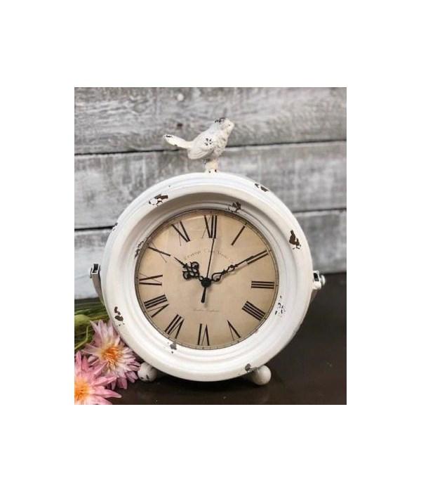 White Distressed Bird Clock 11 x 9.5 x 5 in.