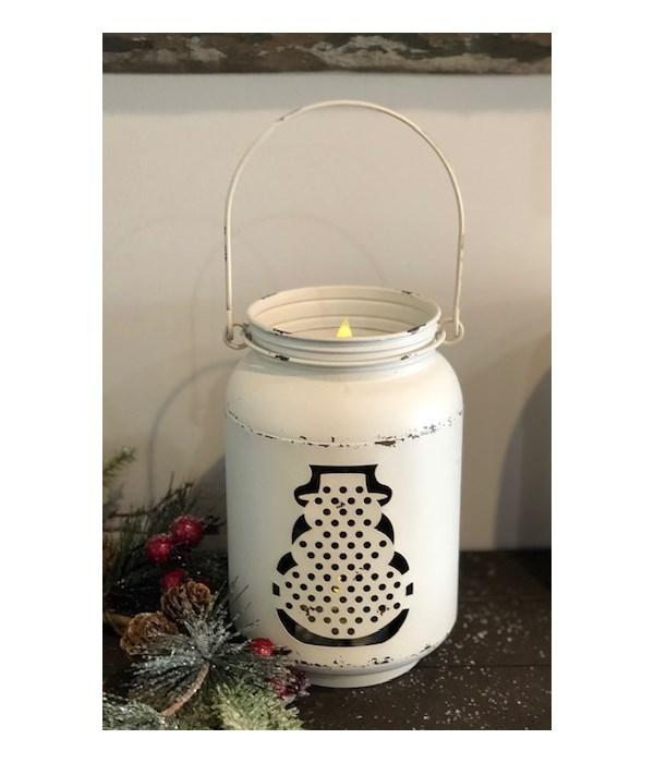 White Mason Jar Snowman LED Lg