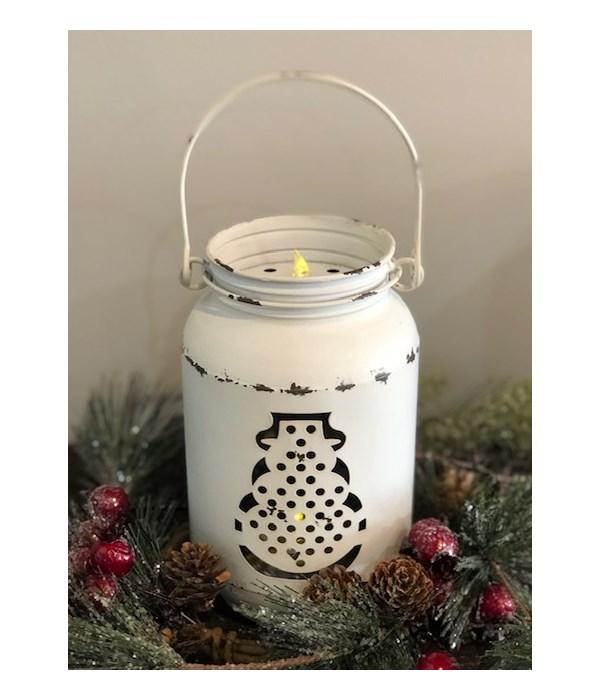 White Snowman LED Mason Jar Sm