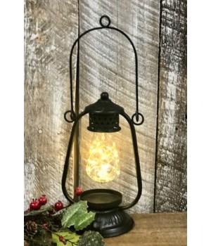 Black Distressed LED Lantern