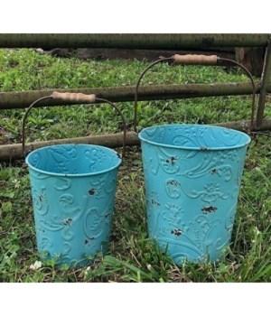 Teal Dist Ornate Buckets (2)