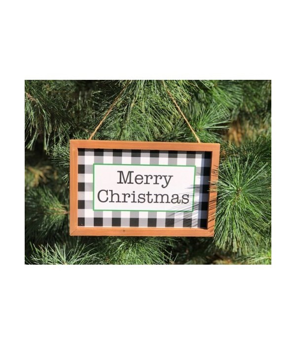Merry Christmas Checkered Sign