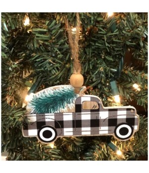 Black Checkered Truck Ornament