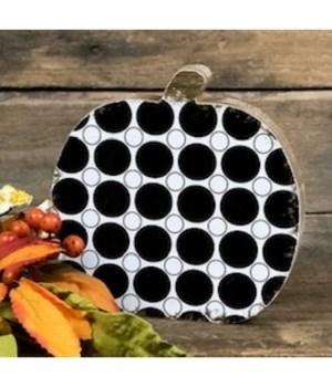Black Polka Dot Pumpkin 6 in.x6 in.