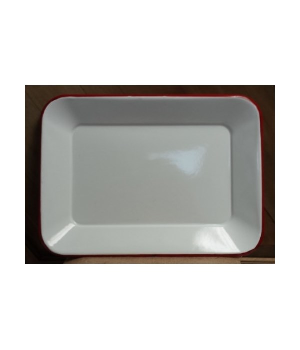 Red Rim Enamel Tray 14.5x10.5