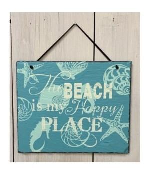 Beach Happy Place Slate Hanger