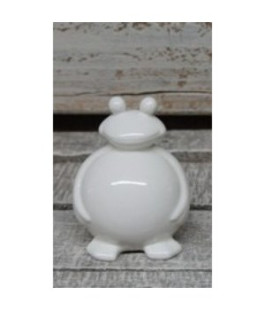 Porcelain Stand White Frog 4 in.