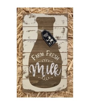 Farm Fresh Milk Bottle Sign