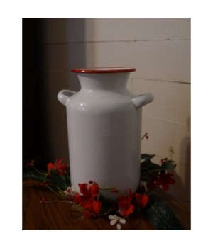 Red Rim Enamelware Milk Can