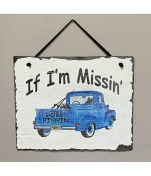 Gone Fishin Slate Sign