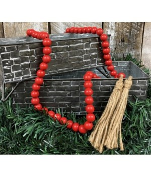 Red Wood Bead Strand 60 in.