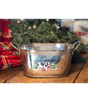 Christmas Cow Oval Container