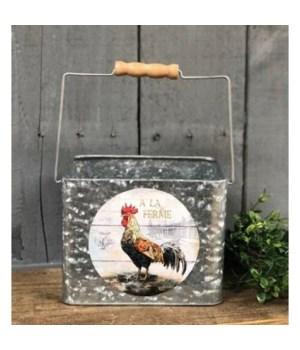 Rooster Met Bucket 5.5x7x5