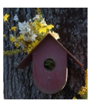 Red Metal Birdhouse 10 in.x5 in.x9 in.