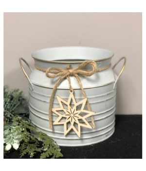 Galv Milk Can w/Snowflake